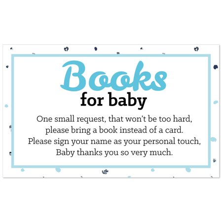Hello Little One - Blue and Silver - Boy Baby Shower Book Instead of Card Request Insert - Set of 18
