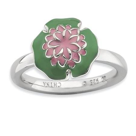Sterling Silver Stackable Expressions Water Lily Ring Size 9 - image 3 de 3