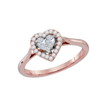 Rose Gold Princess Diamond - 14kt Rose Gold Womens Princess Diamond Heart Love Ring 1/4 Cttw
