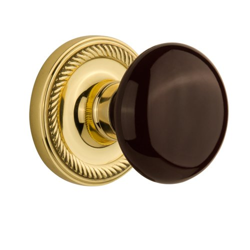 Nostalgic Warehouse Brown Porcelain Double Dummy Door Knob with Rope Rosette