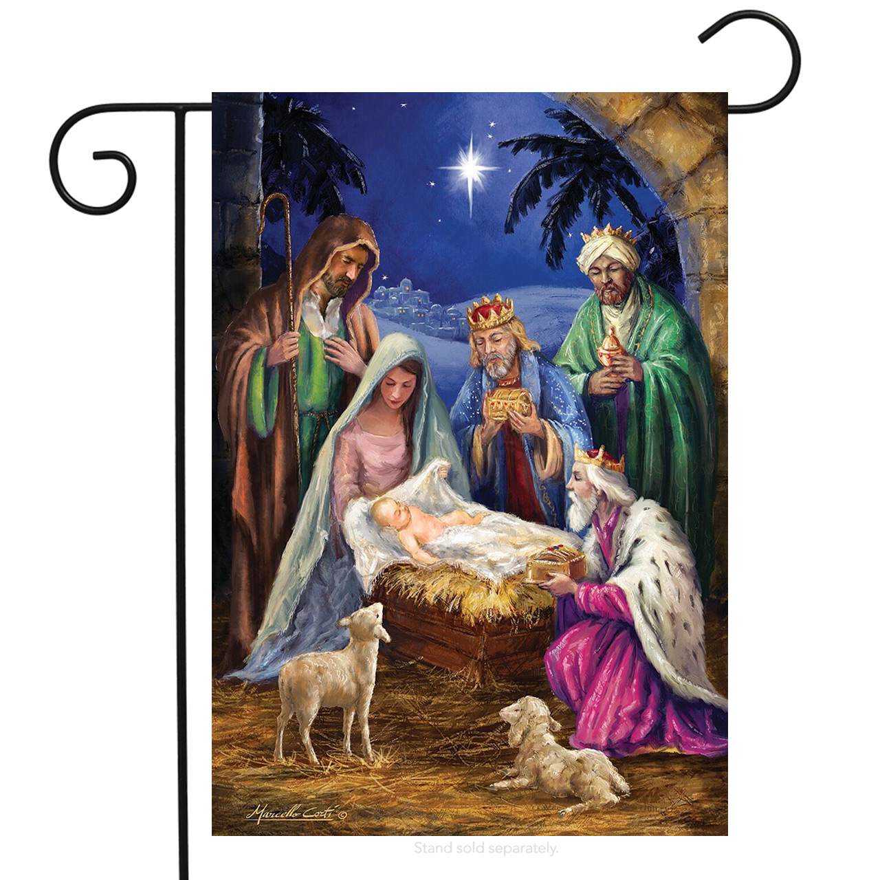 "Nativity Religious Christmas Garden Flag Holiday Baby Jesus 12.5"" x 18"" by Briarwood Lane"