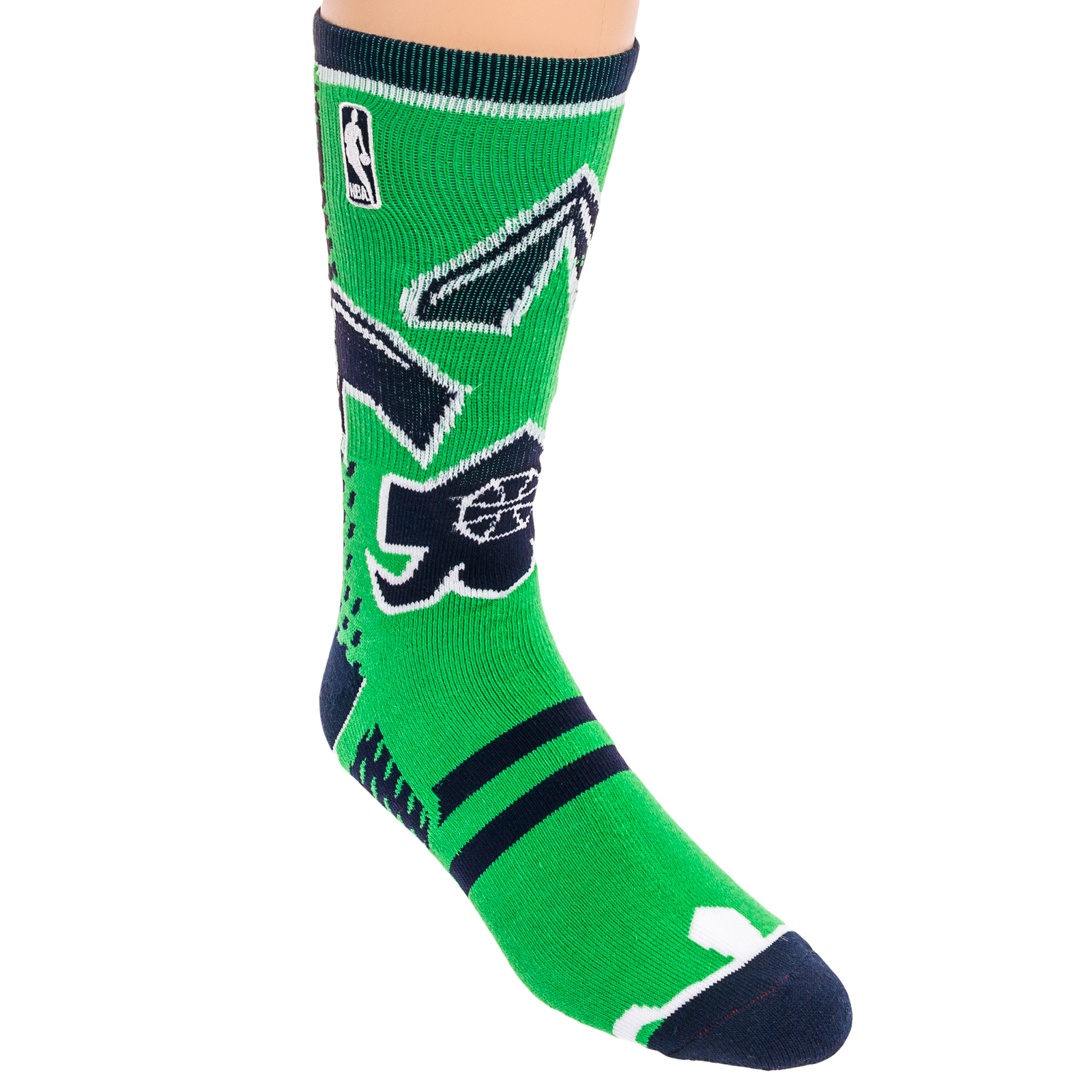 NBA Mens White Logoman Logo Thick Athletic Casual Crew Authentic Basketball Sock