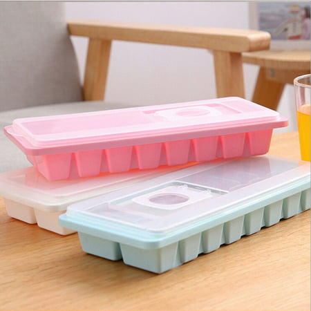 1 tray of 16 Cavity Ice Cubes Tray Box With Lid Cover Drink Jelly Freezer Mold Mould Random Color