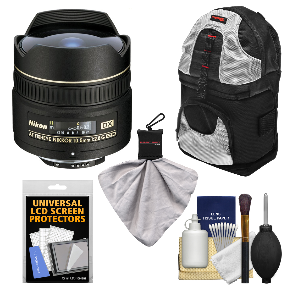 Nikon 10.5mm f/2.8G ED DX AF Fisheye-Nikkor Lens with Sling Backpack + Kit for D3100, D3200, D3300, D5100, D5200, D5300, D7000, D7100 DSLR Cameras