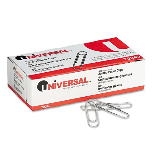 Nonskid Paper Clips, Wire, Jumbo, Silver, 100/Box, 10 Boxes/Pack, By Universal