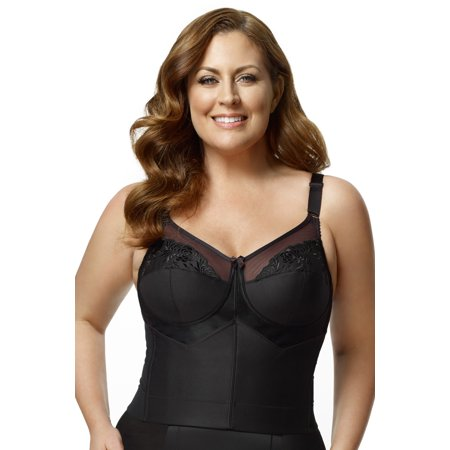 430c68cfe2b Elila Women s Plus Size Back-Hook Longline Posture Bra- Black