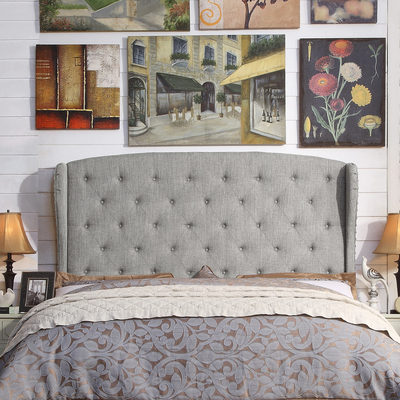 Alton Furniture Nencia Upholstered Wingback Headboard, King Grey by Fullywind