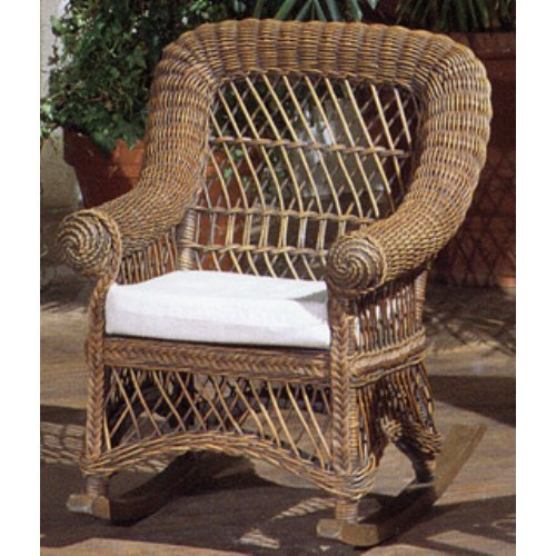 Yesteryear Wicker Childs Wicker Rocking Chair with Cushion - Brown Wash