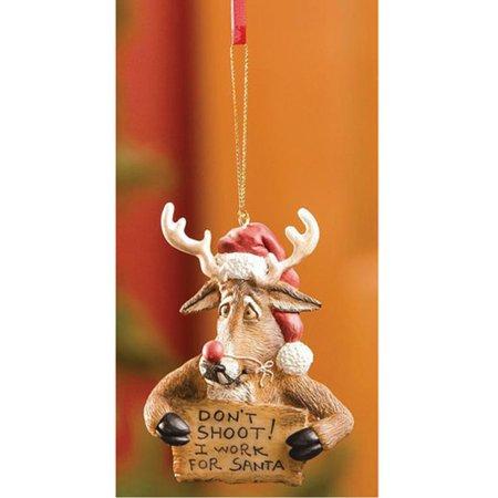 Bearfoots Don't Shoot I Work For Santa Reindeer Christmas Tree Ornament (Bearfoots Moose)