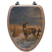 WGI-GALLERY Whitetail Deer in Winter Oak Elongated Toilet Seat