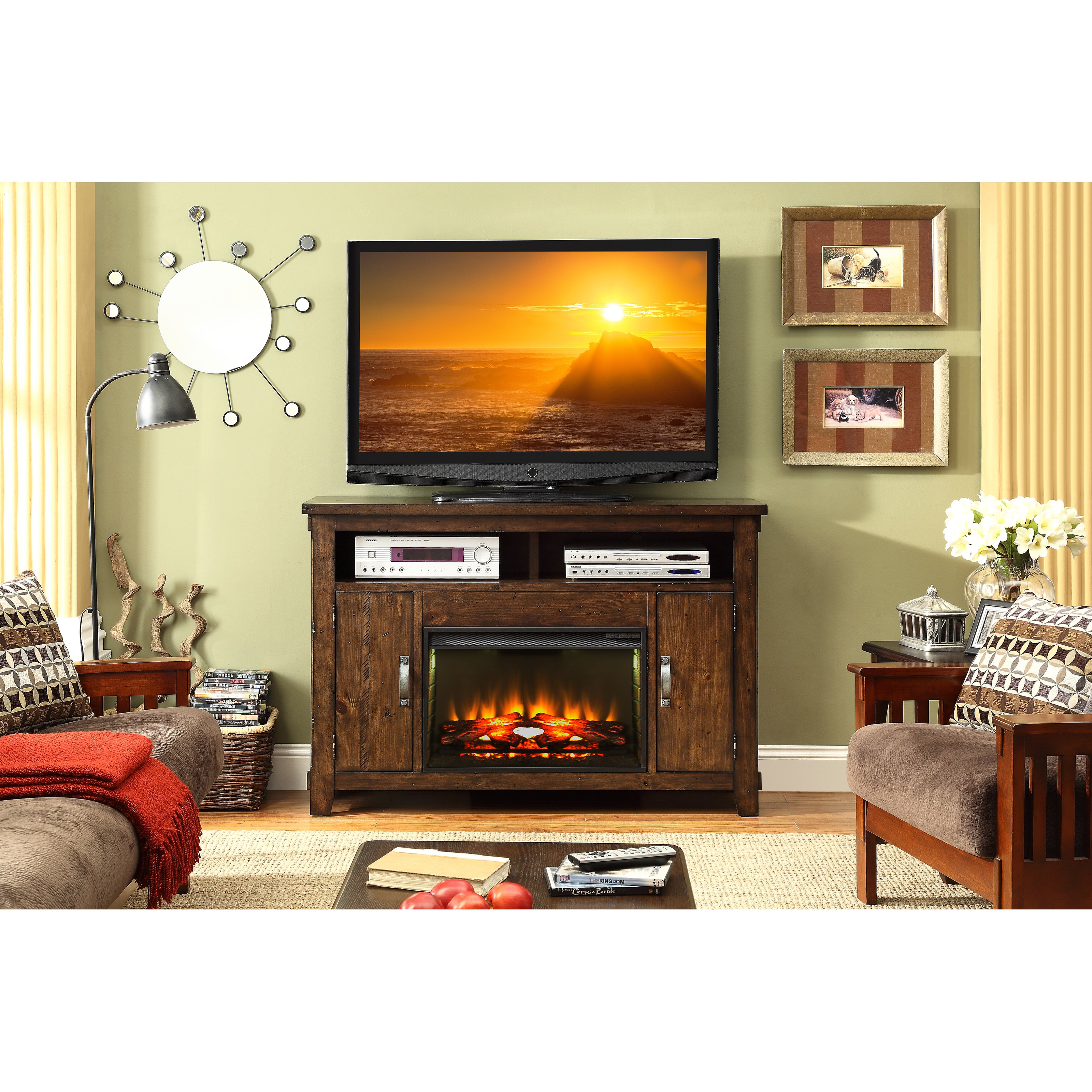 Legends Furniture Restoration 55 in. Electric Media Fireplace
