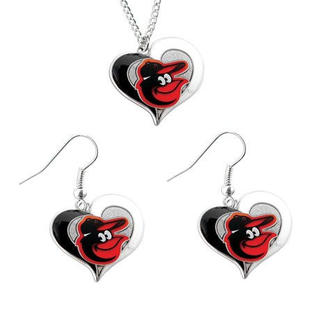- Aminco MLB Baltimore Orioles Swirl Heart Necklace and Dangle Earring Set Charm Gift
