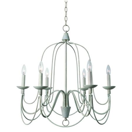 Renaissance 6 Light Oval Chandelier - Kenroy Home Pannier White 6 Light Chandelier
