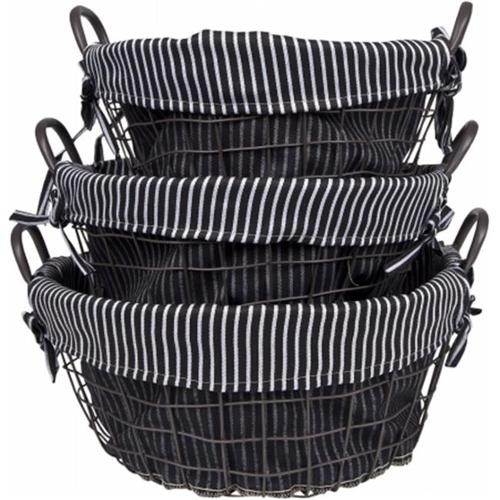 Home Essentials and Beyond 3 Piece Round Metal Basket Set with Liner