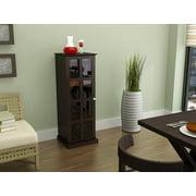 Wood Bar Wine Rack Liquor Cabinet with 24 Bottle Holder and Glass Storage, Espresso