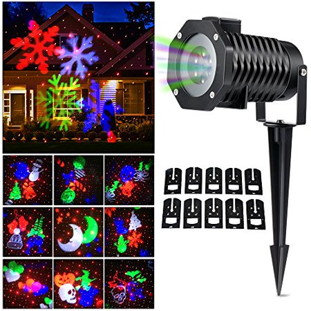 Christmas Laser Light, [Newest Version] Ucharge Snowflake Led Landscape Spotlight 10 Slides Sparkling
