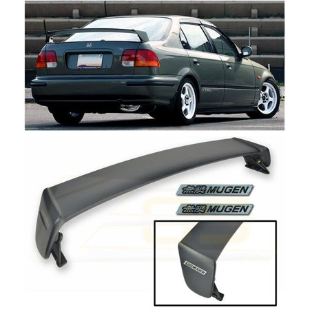 Extreme Online Store for 1996-2000 Honda Civic 4Dr Sedan | JDM Mugen Style ABS Plastic Rear Trunk Lid Wing Spoiler with 2 X Mugen Black Emblems
