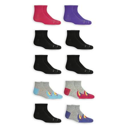 Fruit of the Loom Girls Ankle Socks, 10 Pack