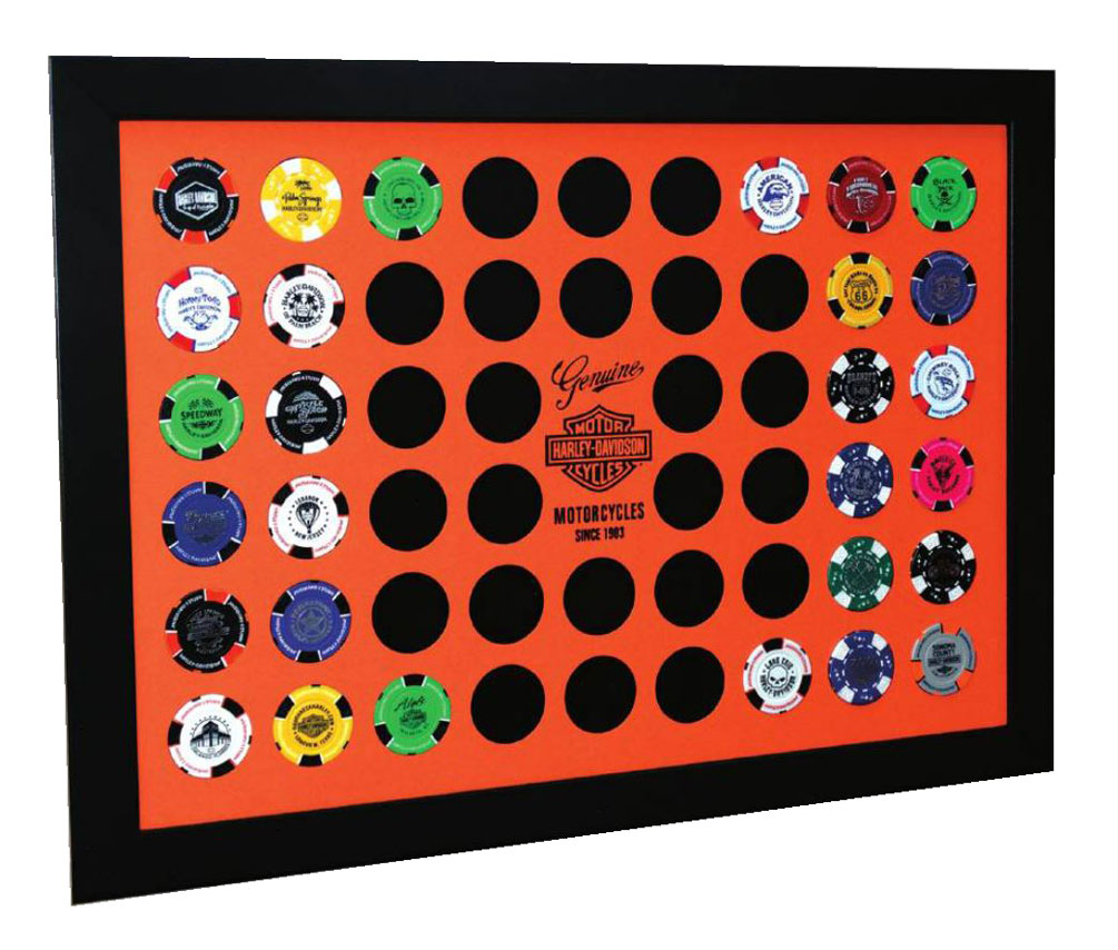 Harley-Davidson Orange Poker Chip Collector's Frame, Holds 52 Poker Chips 6952, Harley Davidson by Dart World Inc.