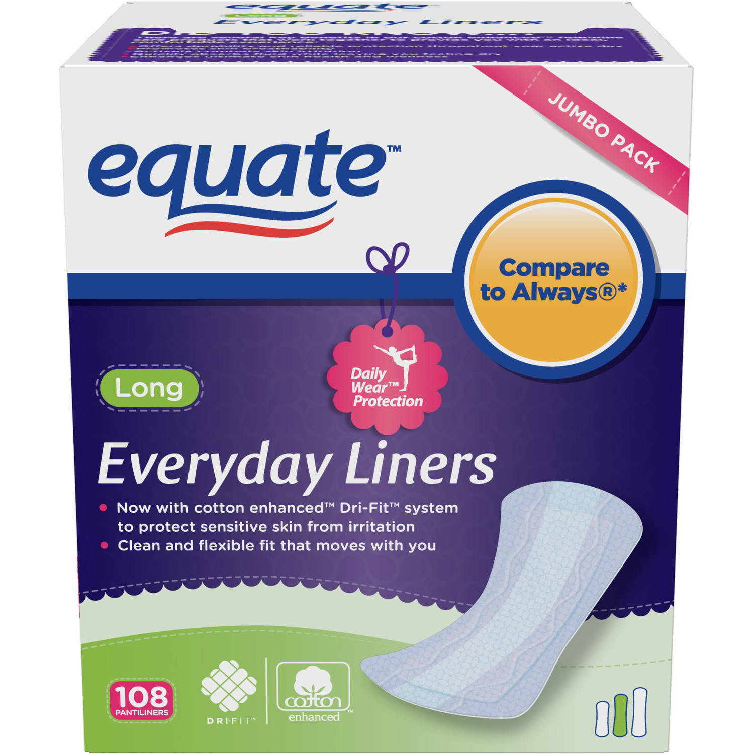 Equate Everyday Pantiliners Long, 108 count