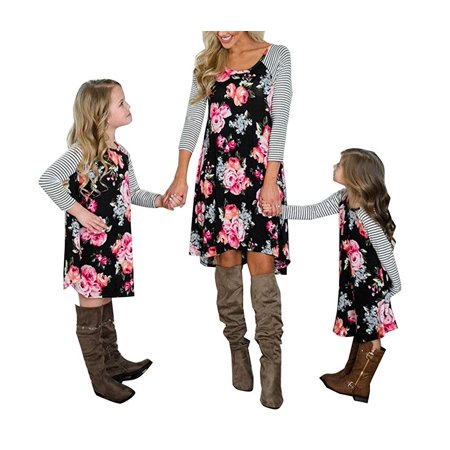 Two Piece Georgette Dress (amily Matching Flower Print O-Neck Long Sleeve Short Dress Mommy and Me One Piece Spring Fall Dress )