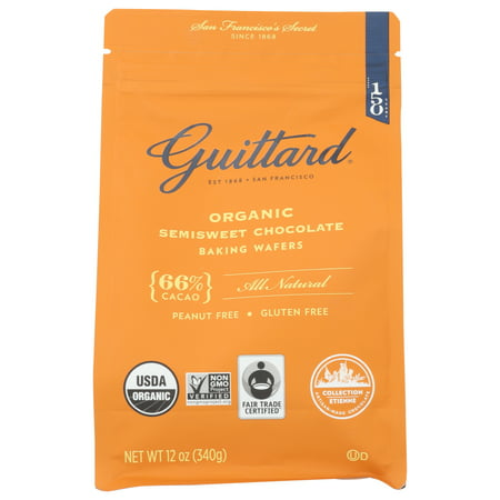(8 Pack) Guittard Organic Semisweet Chocolate Baking Wafers, 66% Cacao, 12 Oz. Bag