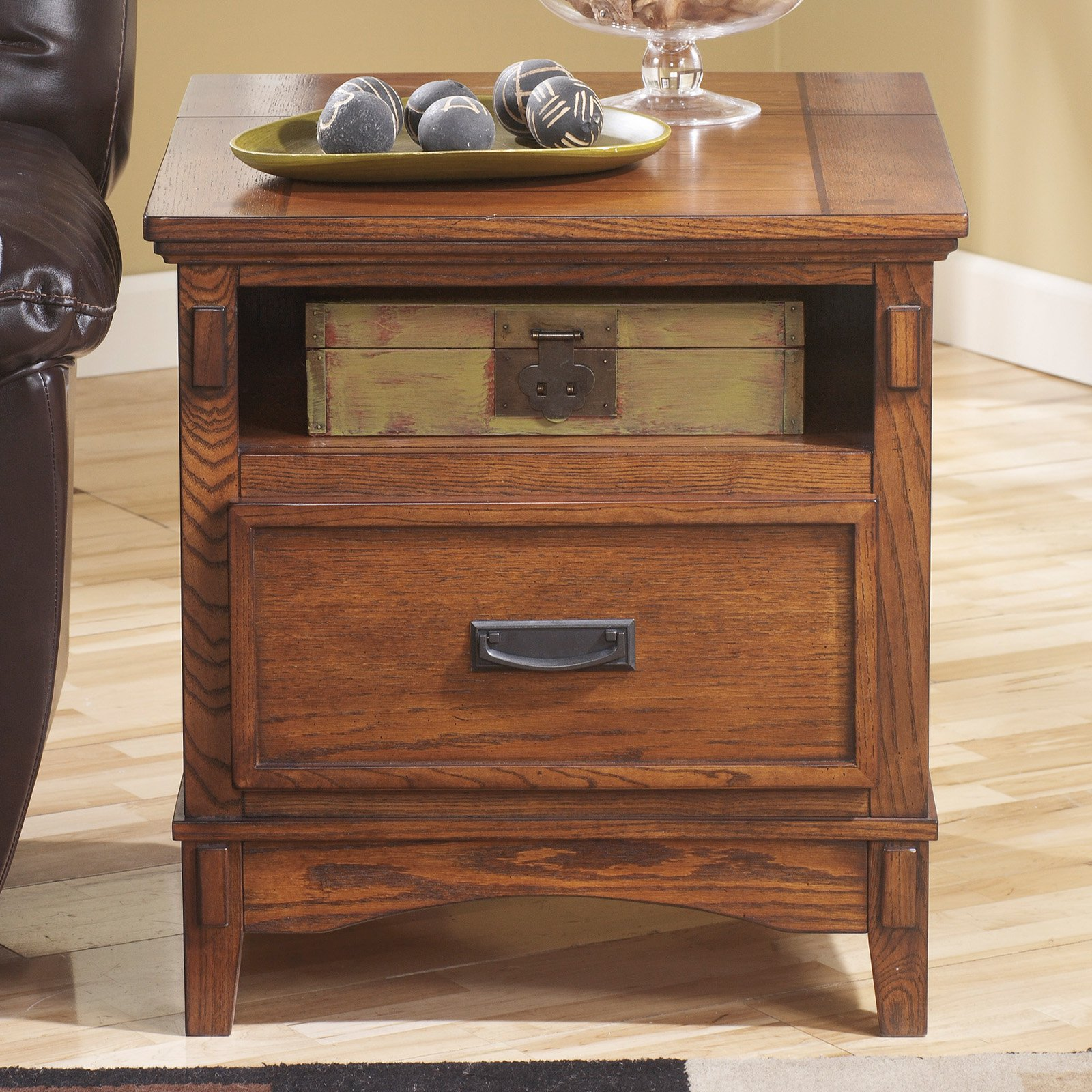 Signature Design By Ashley Cross Island Brown Rectangular End Table