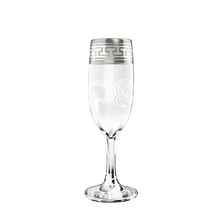 Crystal Goose GX-01-419, 6-Ounce Flute Glasses with Platinum Sputtering, Champagne Flutes with Platinum-Plated Greek Key Design Rim, Champagne Glasses on a Long Stem, Set of (Flute Long Stem)
