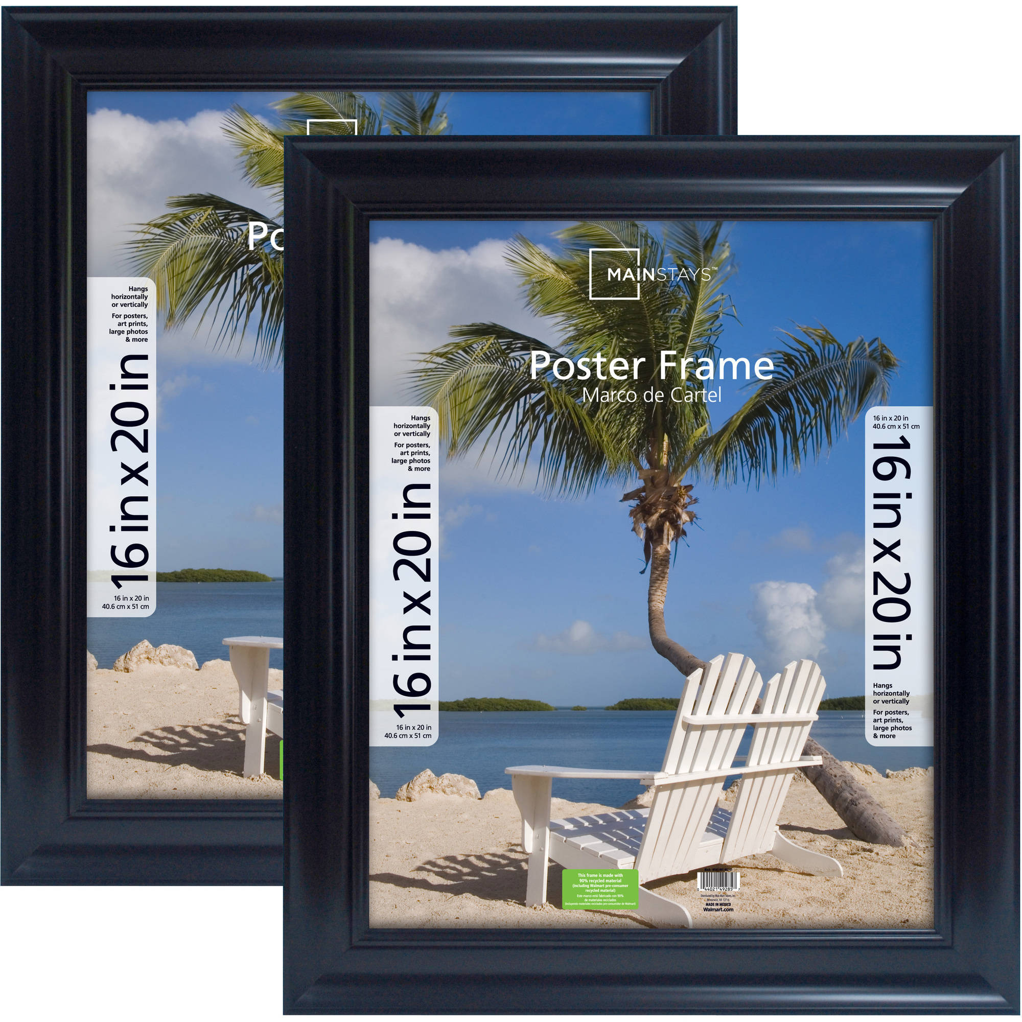Mainstays 16x20 Wide Black Poster & Picture Frame, Set of 2 ...