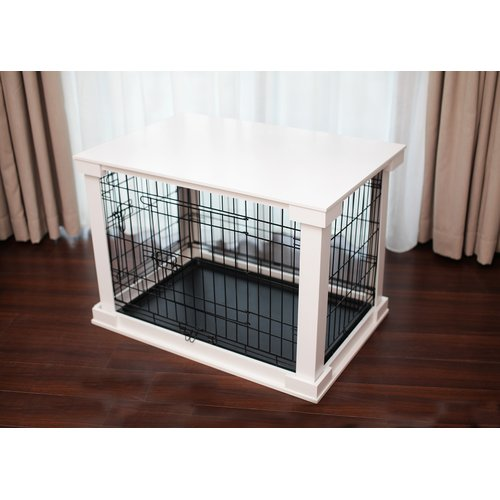 Cage with Crate Cover, White, Large