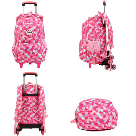 Little Girl Wheeled Backpack Adorable Rolling Daypack Large-capacity Trolley School Bag Travel Rolling Backpacks for Primary School Students (Backpack Luggage Trolley Bag)
