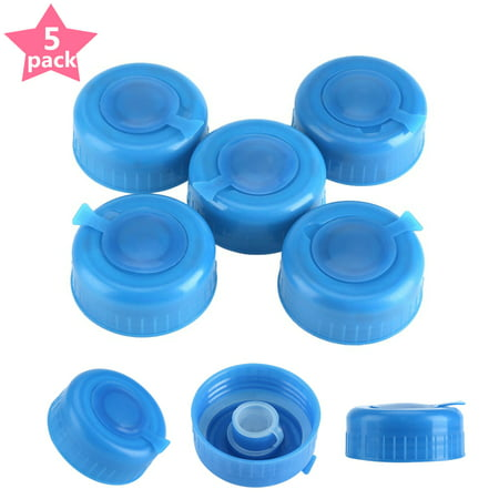 Yosoo 5Pcs - 55mm - 3 and 5 Gallon Non-Spill Caps with Cap-Opener , Gallon Water Jug Cap Replacement Water Bottle Screw Snap On Cap Anti Splash