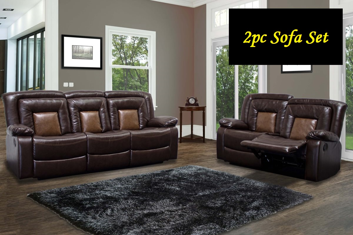 Chocolate Brown Double Recliner Sofa Love-seat Faux Leather Brookshire 2pc Set Living Room Dual Tone Couch Modern... by