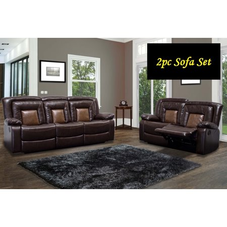 Chocolate Brown Double Recliner Sofa Love Seat Faux