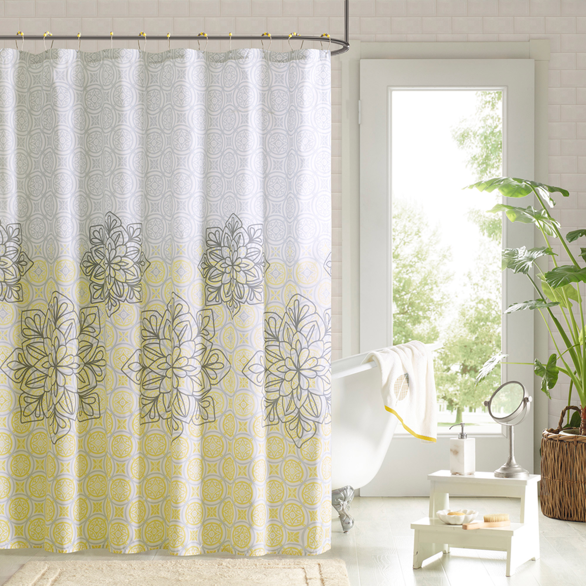 90 Degrees by Design Lab Cecelia Printed Shower Curtain and Hook Set ...