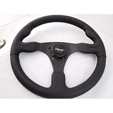 New World Motoring CLUB CAR PRECEDENT Genuine Leather steering wheel golf cart With Adapter (Steering Wheel Go Cart)