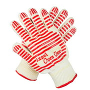 Azzel Heat Resistant Gloves Oven Mitts with Fingers,Non-Slip Silicone Grip (1 Pair), Red