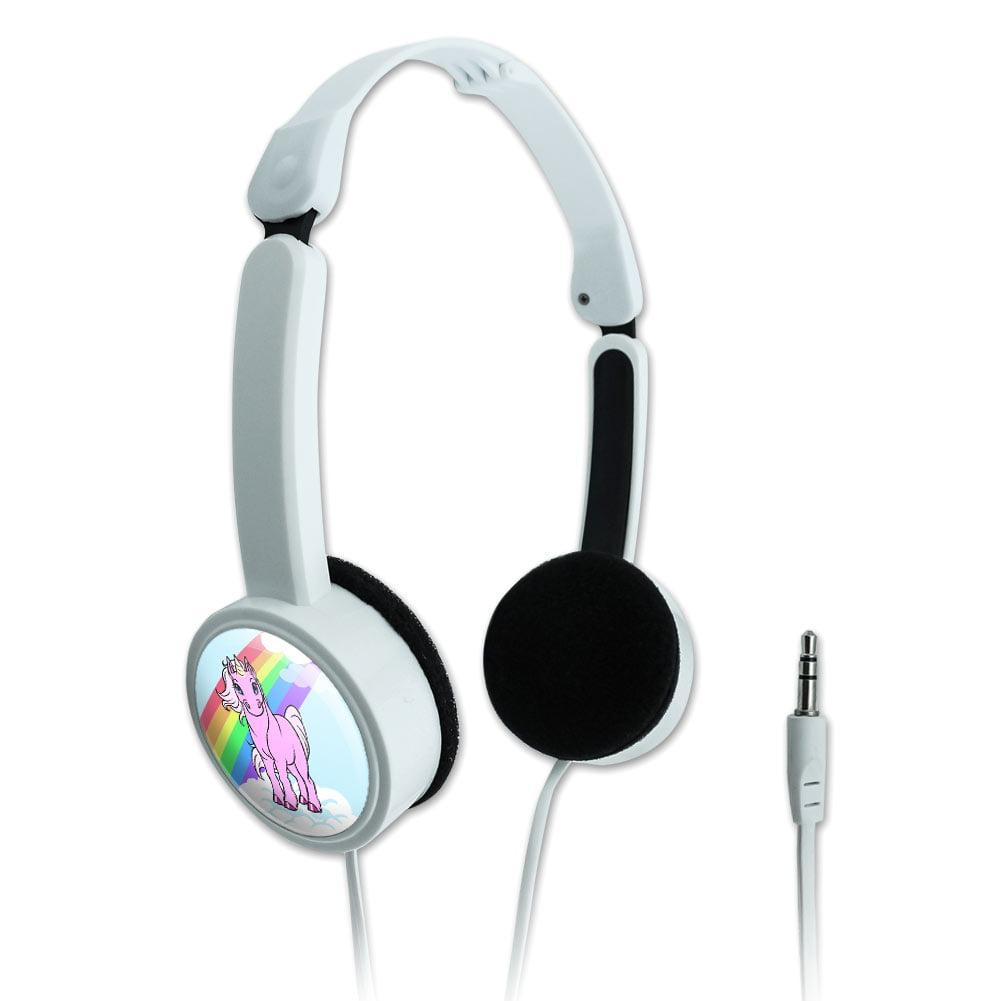 Unicorn Pony Rainbow Pink Novelty Travel Portable On-Ear Foldable Headphones