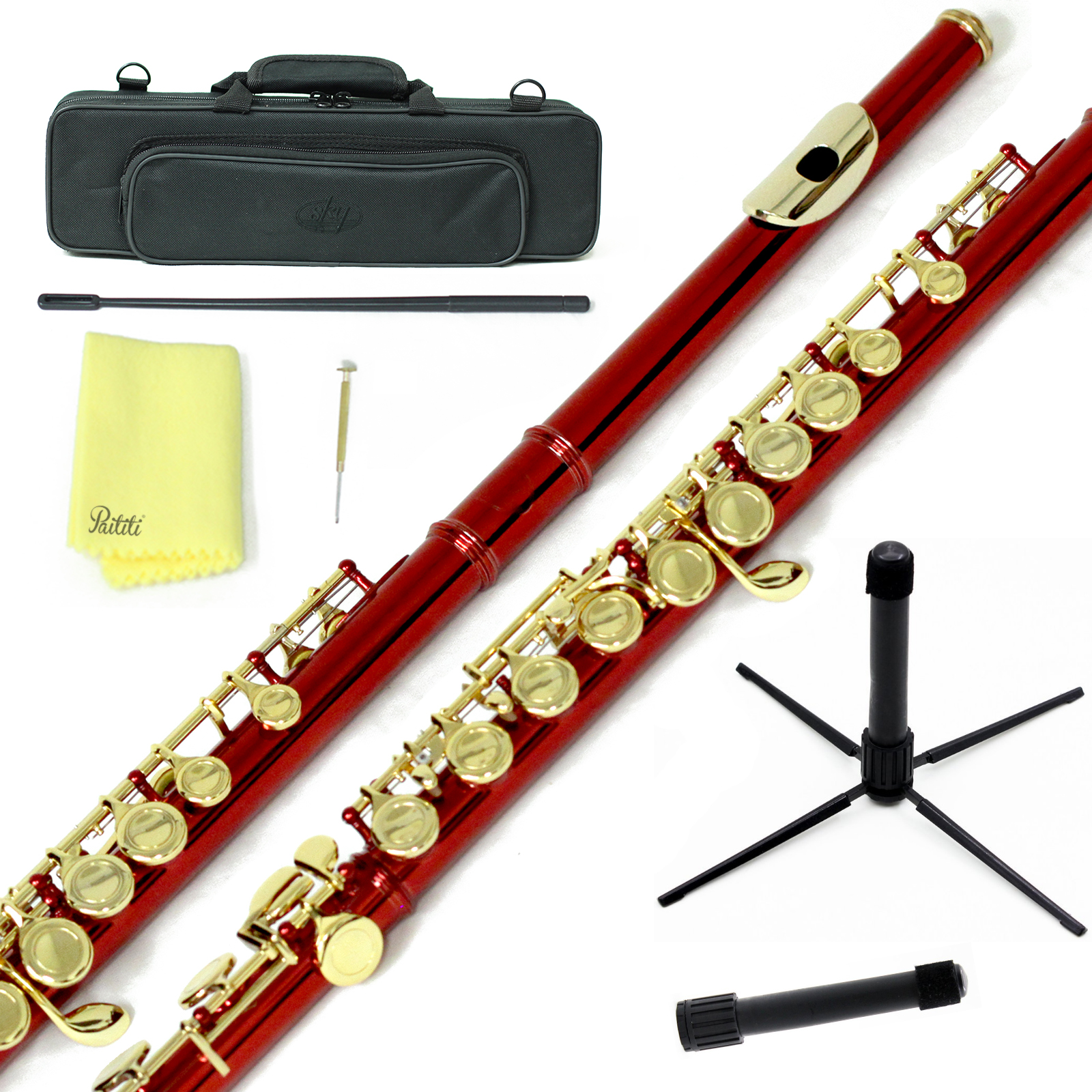 Sky Closed Hole C Flute with Lightweight Case, Cleaning Rod, Cloth, Joint Grease and Screw Driver - Wine Red Gold
