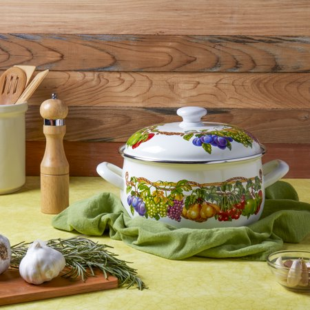 Kensington Garden 5 Quart Covered Casserole Baking Dish Porcelain Enamel Non-Stick Non Stick Covered Casserole