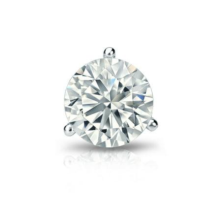 14k Gold 3-Prong Martini Round Diamond SINGLE STUD Earring (3/8 ct, H-I, I2-I3) Screw-Back (Single Diamond Earring Screw Back)