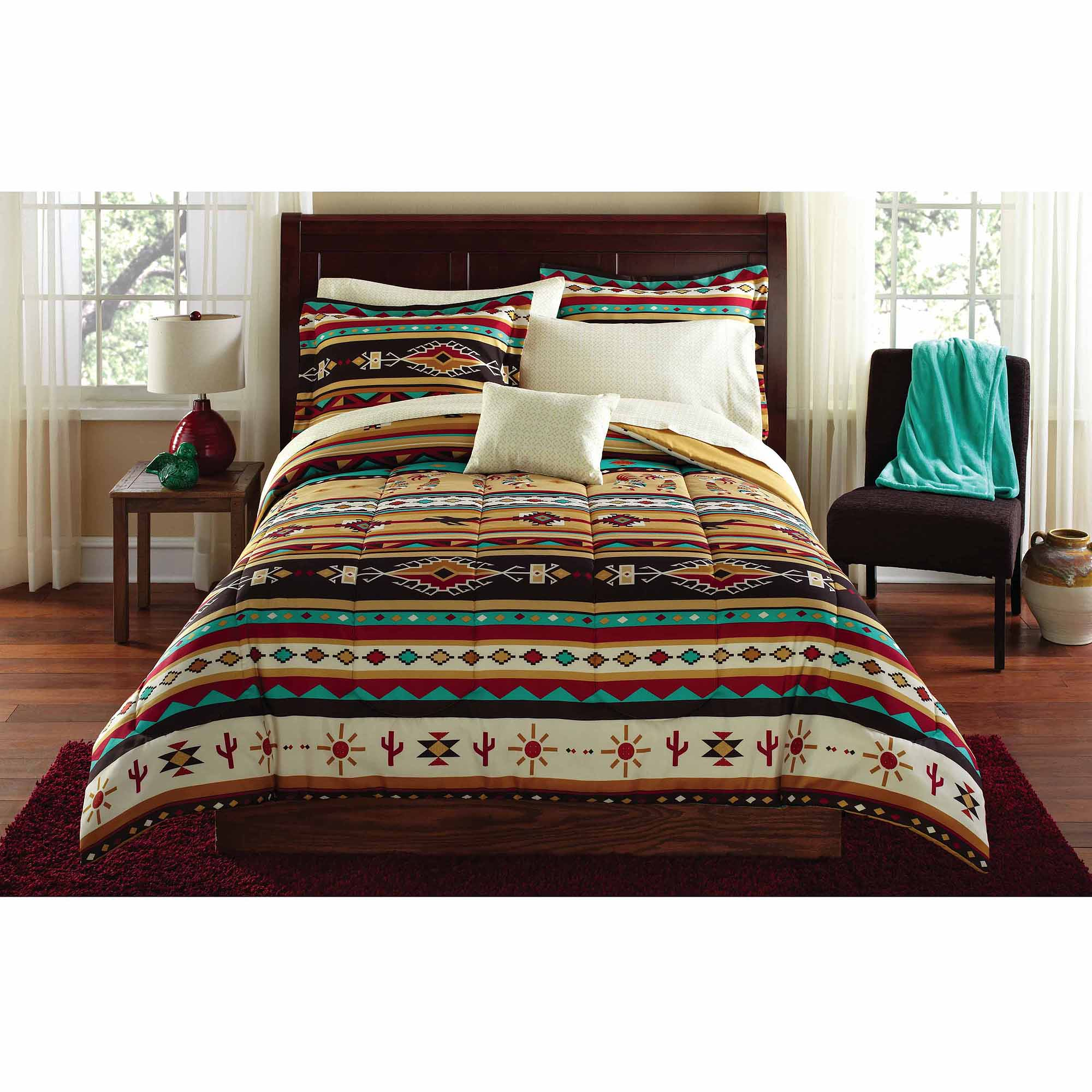 Mainstays Kokopelli Bed In A Bag Coordinating Bedding Set   Walmart.com