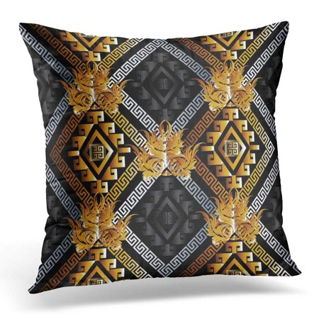 ECCOT Abstract Modern Geometric Black with Gold Silver 3D Rhombus Greek Key Shapes Figures and Damask Flowers Pillowcase Pillow Cover Cushion Case 18x18