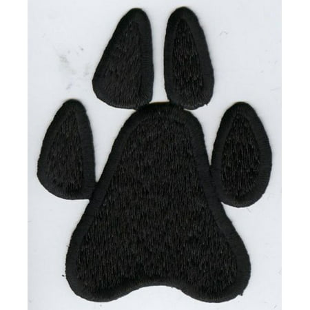 Large - Black Paw Print - Animals - Iron On Applique/Embroidered Patch