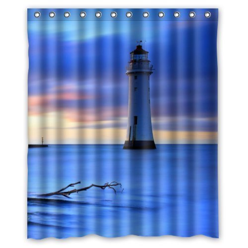 GreenDecor Lighthouse Waterproof Shower Curtain Set With