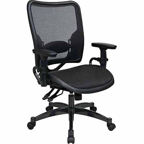 Office Star Space Seating Professional Dual Function Ergonomics AirGrid Office Chair with Gunmetal Accents, Black
