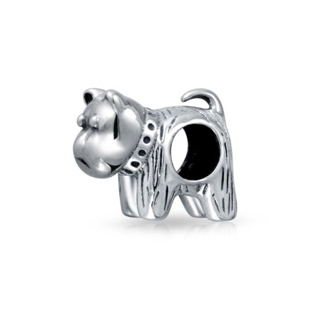 BFF Small Puppy Dog Bead Charm For Women For Teen Oxidized 925 Sterling Silver Fits European (Oxidized Bead Design)