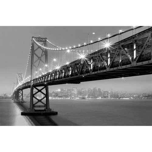 "Canvas Wall Art Black & White New York City Bridge, 21.5"" x 32.5"""