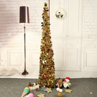 5 Foot Blue Sequin Pop Up Tinsel Christmas Tree, Easy to Assemble and Store, for Small Spaces Apartment Fireplace Party Home Office Store Classroom Xmas Decorations