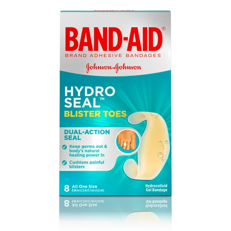 Band-Aid Brand Hydro Seal Adhesive Blister Toe Bandages, 8 Count - Healing Blister Cushions Band Aid